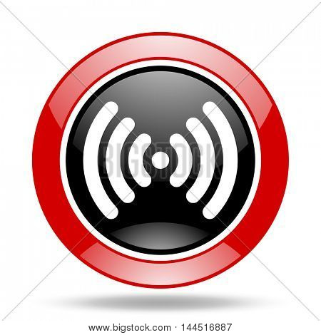 wifi round glossy red and black web icon