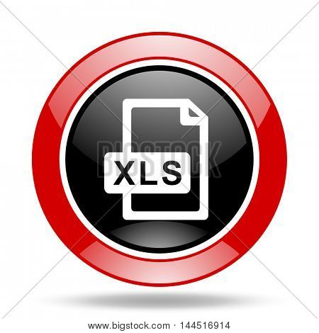 xls file round glossy red and black web icon
