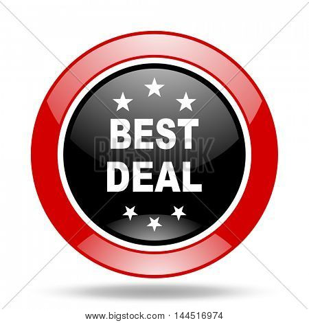 best deal round glossy red and black web icon