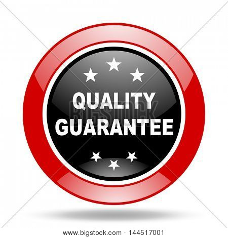 quality guarantee round glossy red and black web icon