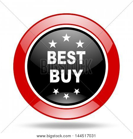 best buy round glossy red and black web icon