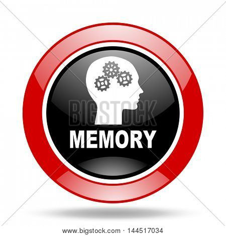 memory round glossy red and black web icon
