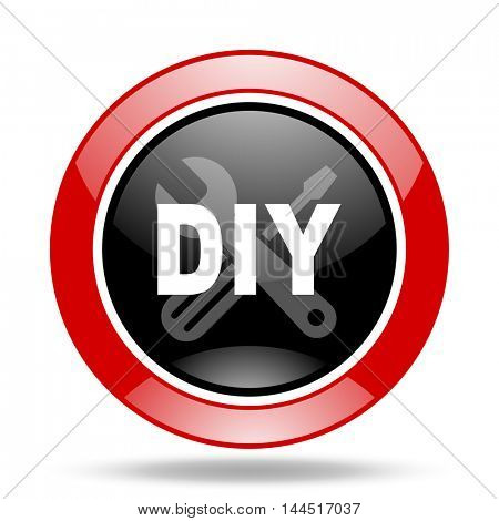 diy round glossy red and black web icon