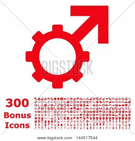 Technological Potence icon with 300 bonus icons. Vector illustration style is flat iconic symbols, red color, white background.
