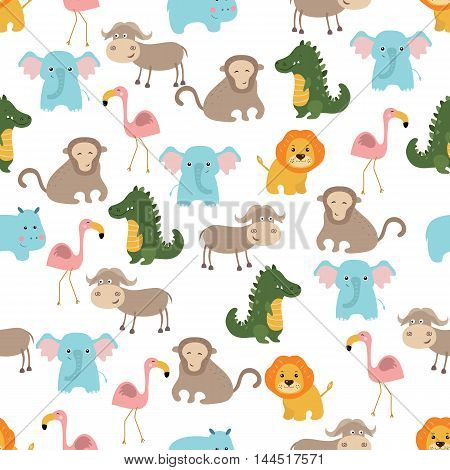 Seamless cartoon pattern with african animals on white background.