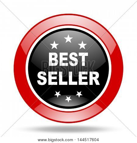 best seller round glossy red and black web icon