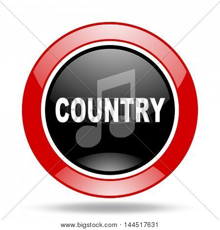 music country round glossy red and black web icon