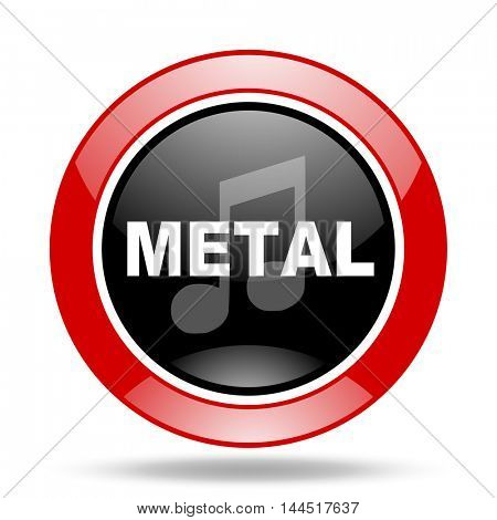 metal music round glossy red and black web icon