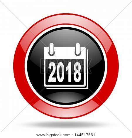 new year 2018 round glossy red and black web icon