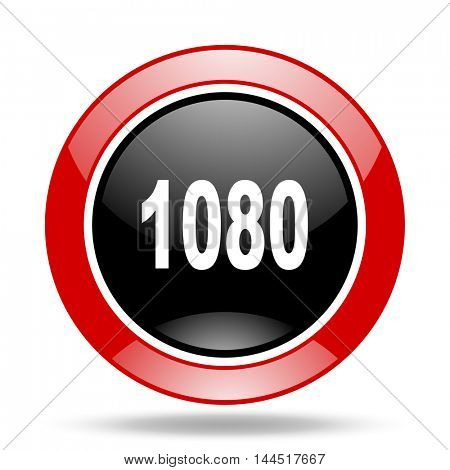 1080 round glossy red and black web icon