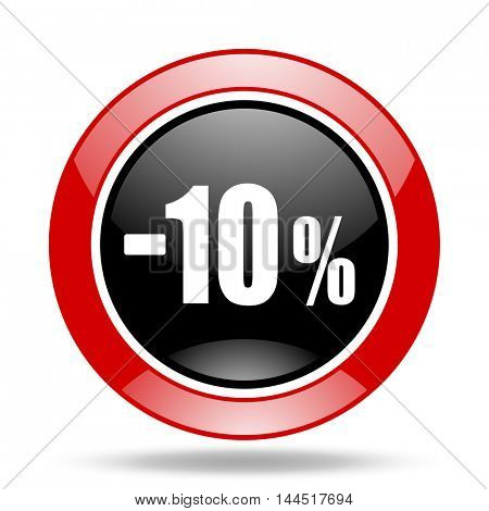 10 percent sale retail round glossy red and black web icon