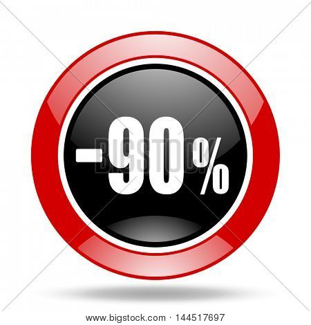 90 percent sale retail round glossy red and black web icon