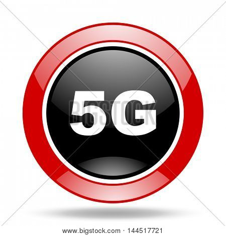 5g round glossy red and black web icon