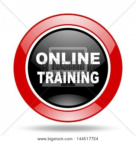 online training round glossy red and black web icon