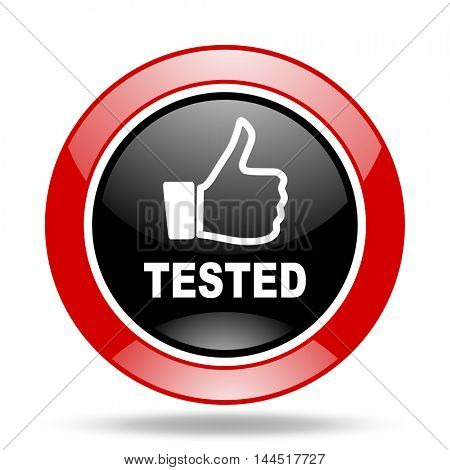 tested round glossy red and black web icon