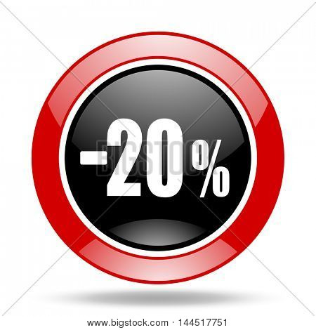 20 percent sale retail round glossy red and black web icon