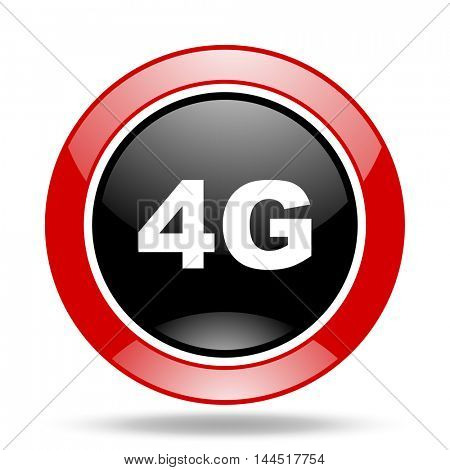 4g round glossy red and black web icon