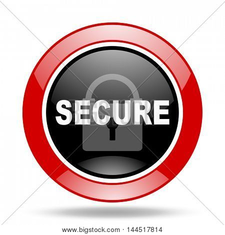 secure round glossy red and black web icon