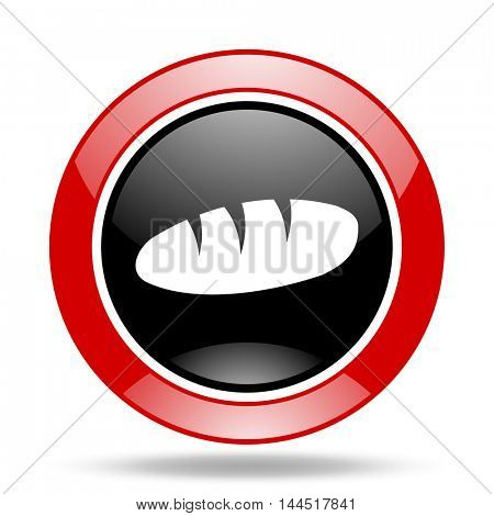 bread round glossy red and black web icon