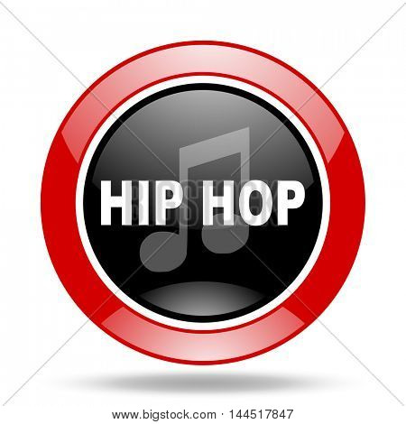 hip hop round glossy red and black web icon