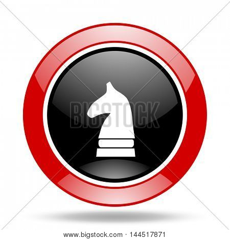 chess horse round glossy red and black web icon