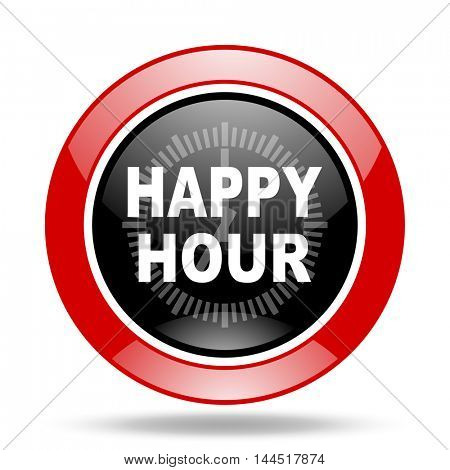 happy hour round glossy red and black web icon