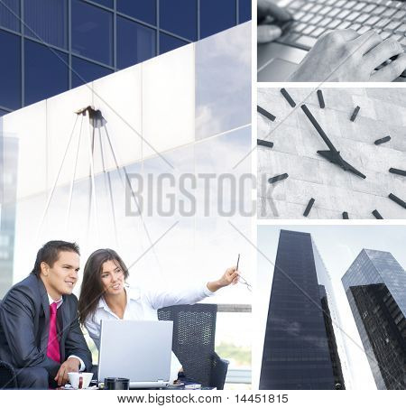 Business collage illustrating finance, communication, time, technology, real estate and business lifestyle