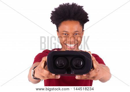 African American Young Man Giving A Vr Virtual Reality Headset Over White Background