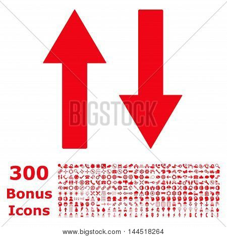 Vertical Flip Arrows icon with 300 bonus icons. Vector illustration style is flat iconic symbols, red color, white background.