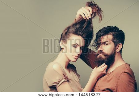 Sexy Couple With Long Hair And Beard