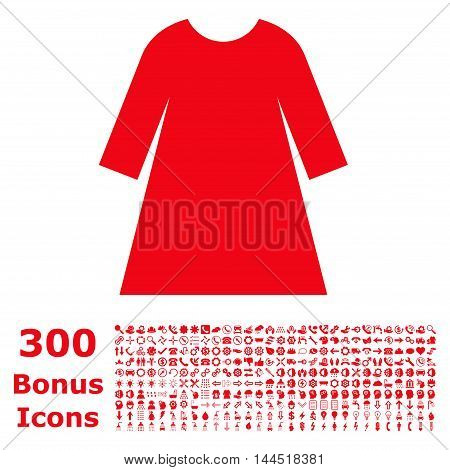 Woman Dress icon with 300 bonus icons. Vector illustration style is flat iconic symbols, red color, white background.