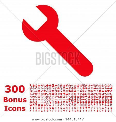 Wrench icon with 300 bonus icons. Vector illustration style is flat iconic symbols, red color, white background.