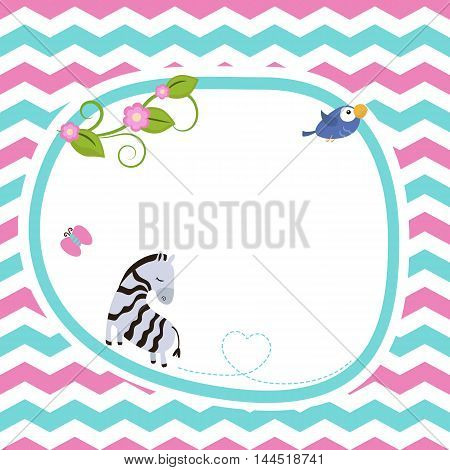 Greeting card with cute zebra. Seamless background.
