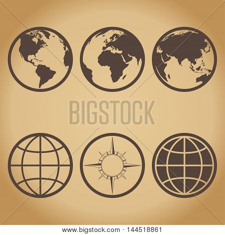 Various icons of the globe with compass