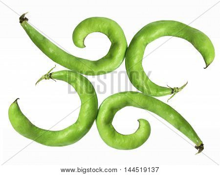Four Fresh Broad Beans on White Background