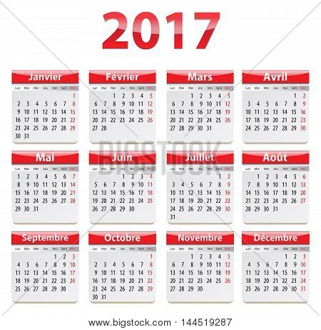 Calendar for 2017 year in French in red. Vector illustration