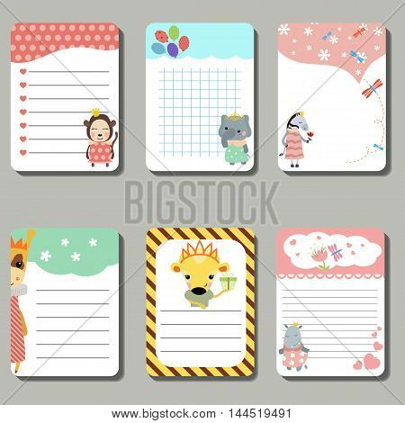 Set of cute creative cards with animals dressed as princess. Vector design templates for greeting / gift cards flyers posters etc.
