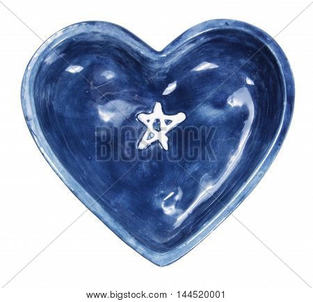 Heart Shape Ceramic Dish on White Background