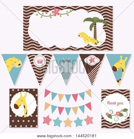 Set of birthday party elements with cute animals. Birthday party package.