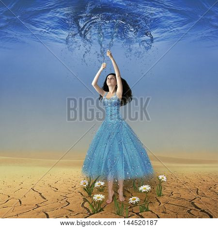 A girl stands in the middle of the desert. She's trying to make rain.