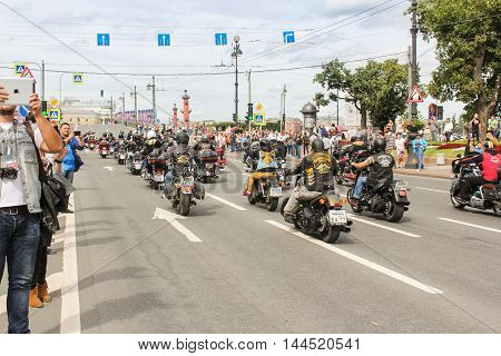 St. Petersburg, Russia - 13 August, The parade of bikers from different countries,13 August, 2016. The annual parade of Harley Davidson in the squares and streets of St. Petersburg.