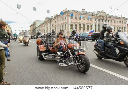 St. Petersburg, Russia - 13 August, The parade of bikers on the Green Bridge Nevsky Prospekt,13 August, 2016. The annual parade of Harley Davidson in the squares and streets of St. Petersburg.