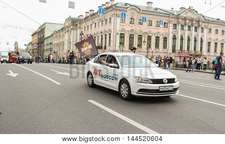 St. Petersburg, Russia - 13 August, Cars traveling on the Nevsky Prospect,13 August, 2016. The annual parade of Harley Davidson in the squares and streets of St. Petersburg.