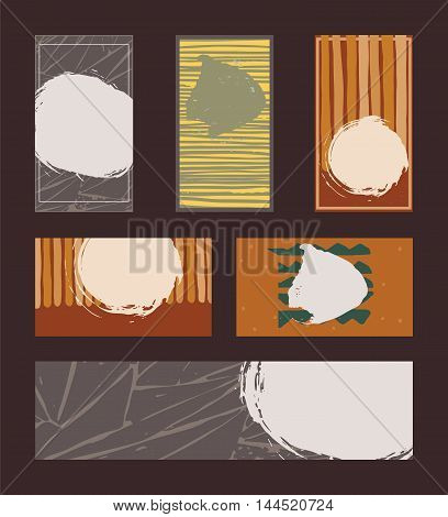 Vector collection of vivid colored business vertical and horizontal cards and banner hand drawn with liquid ink and brush with splashes stripes and imperfections. Set of isolated on black designs