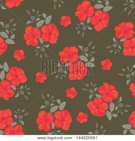 Hibiscus Flower Seamless Pattern . Summer Ornament. Gypsy Stile.