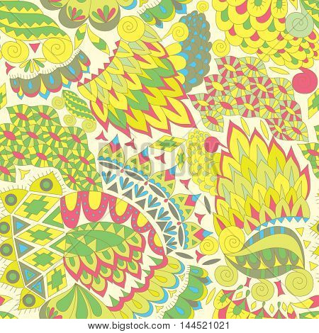 Vintage Ethnic Seamless Background. Boho Pattern. Color Abstract Ornament.  Decorative Background for Fabric.