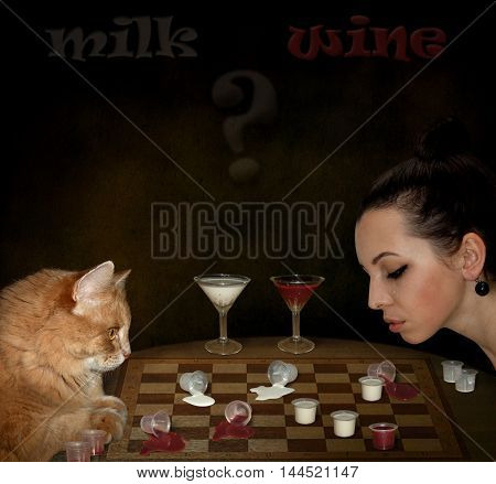 A girl is playing checkers with her cat.