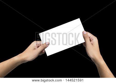 black background, hand, handing, hands, hold, holding, paper White, White