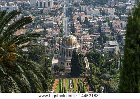View of the Bahai gardens in Haifa, Israel