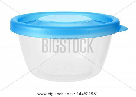 Empty Round Plastic Container on White Background